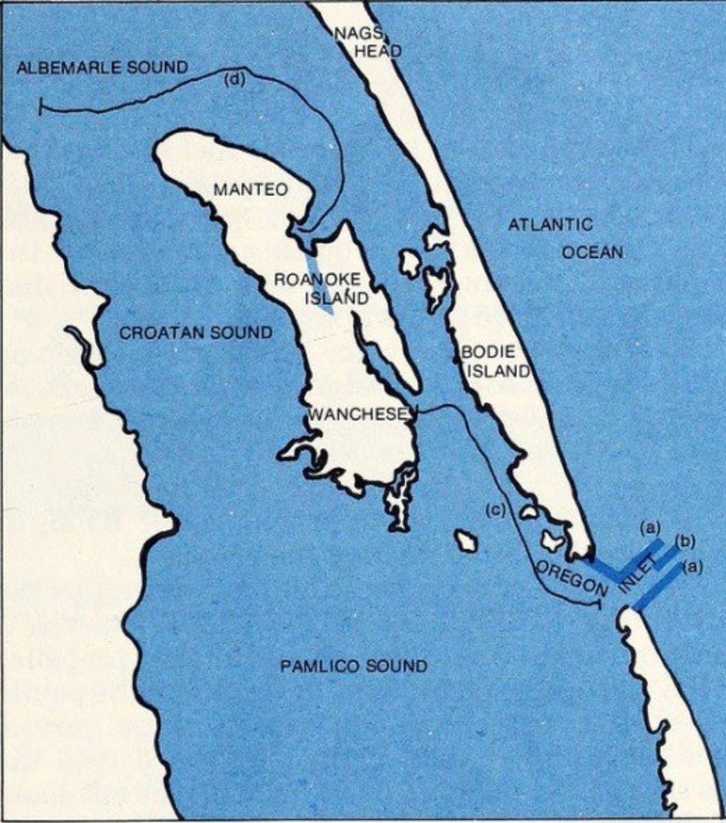 Hatteras Island is at the lower right (southeast) corner of the photo and the island is at least 42 miles long, leading to Cape Hatteras. Arrows and letters a.b.c.d. indicate possible boat or canoe routes. Route 12 extends down to the cape.