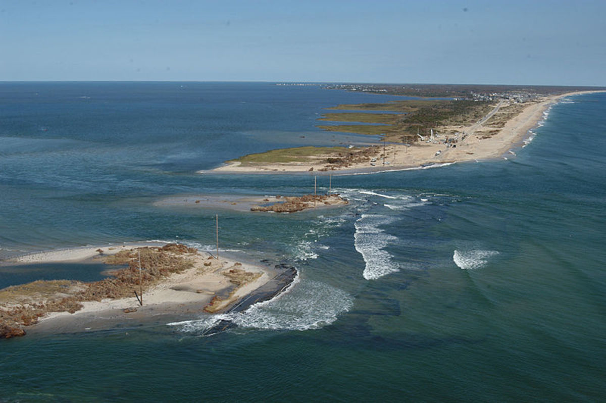 Parts of Hatteras Island, some under water in 2003.
