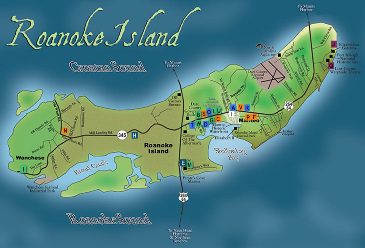 Manteo Island Map
