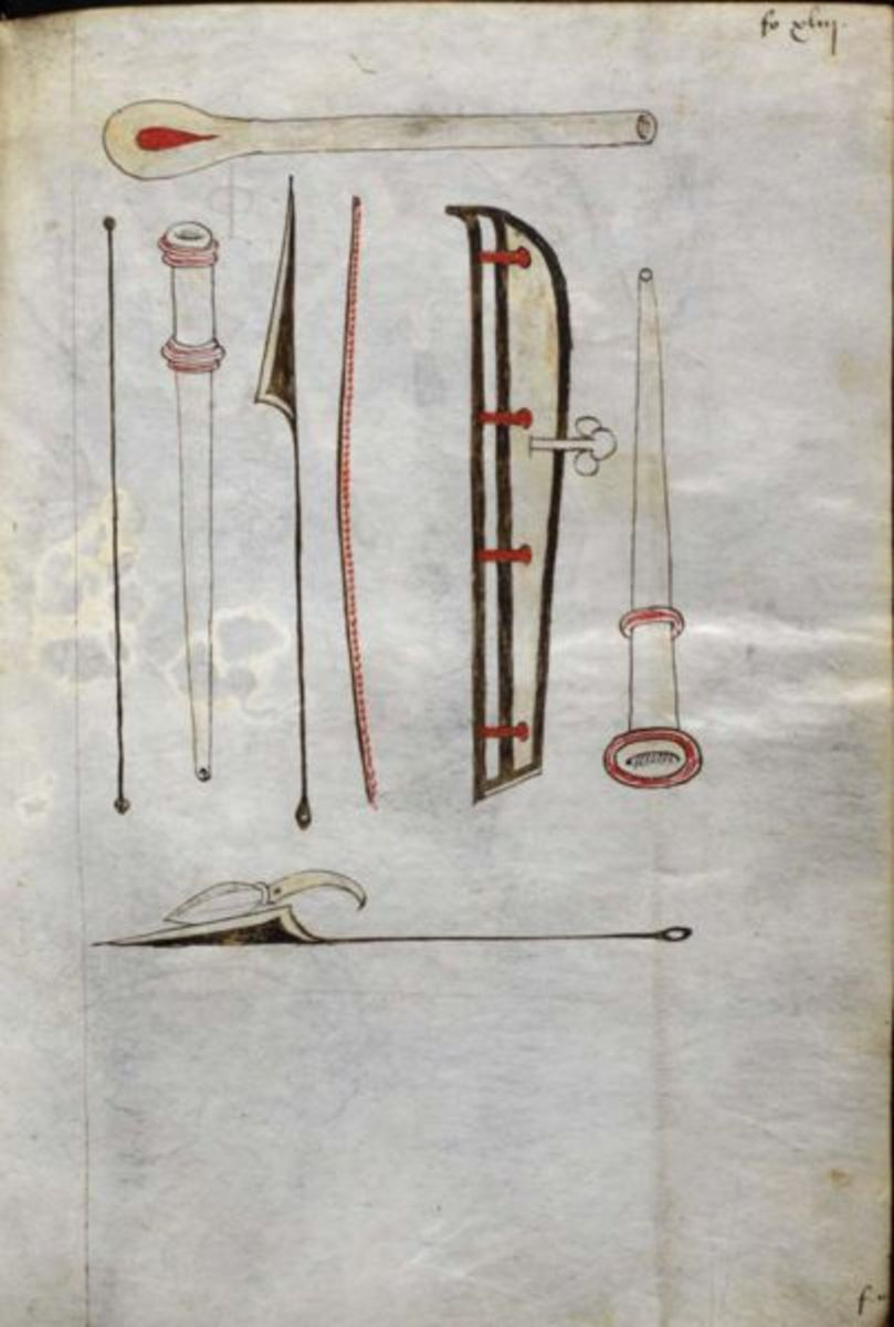 Medieval surgical instruments used for blood letting.