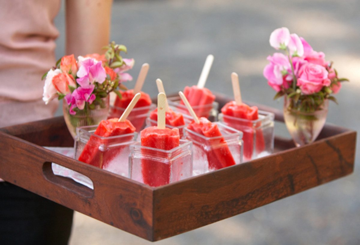 A serving tray is an elegant way to present Popsicles at any party.