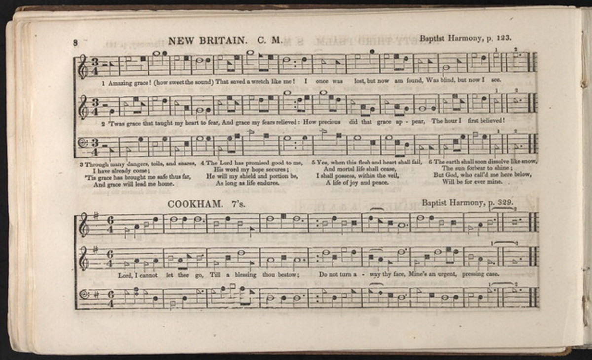 """The New Britain melody (1835)  that we know as """"Amazing Grace"""" of today."""