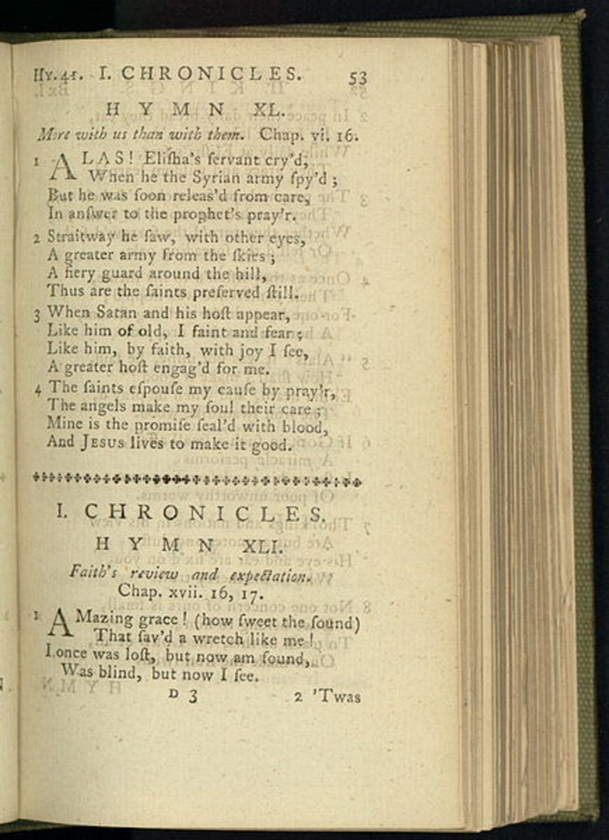 "Olney Hymns in which ""Amazing Grace"" appeared in 1779."