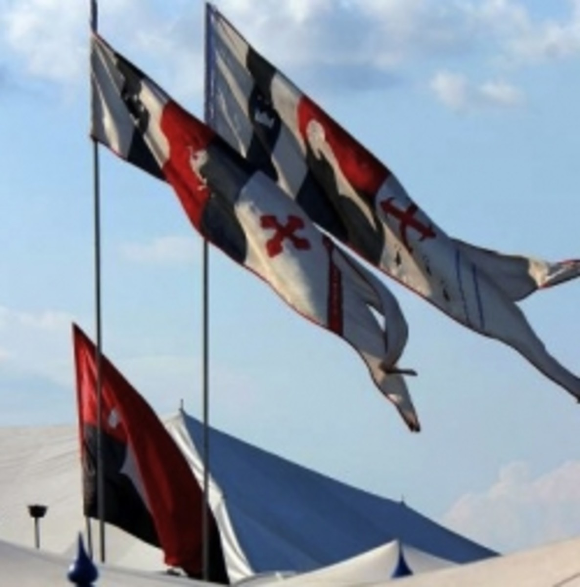 SCA Medieval Rennactment Banners Flying in The Wind
