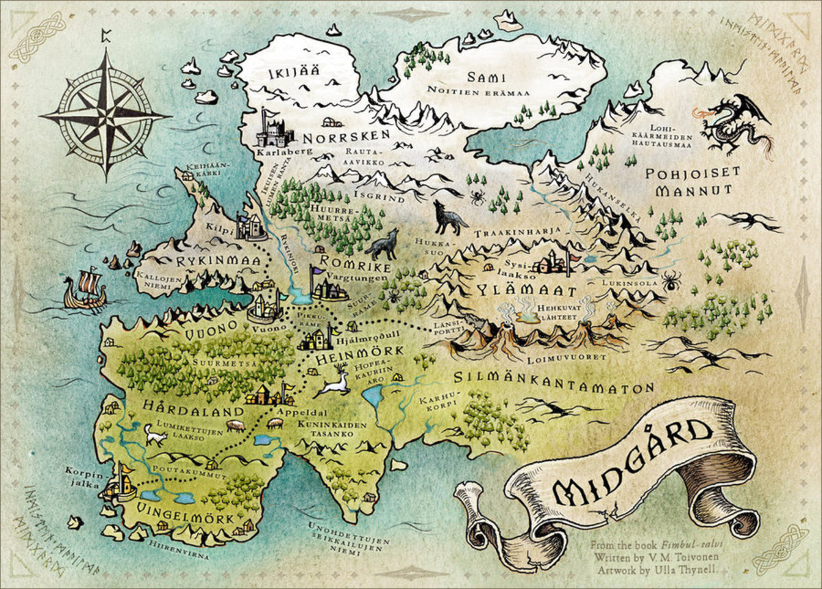 Midgard mapped - the world of mankind, one of the nine worlds in Norse mythology from which Odin's ravens, his messengers bring news
