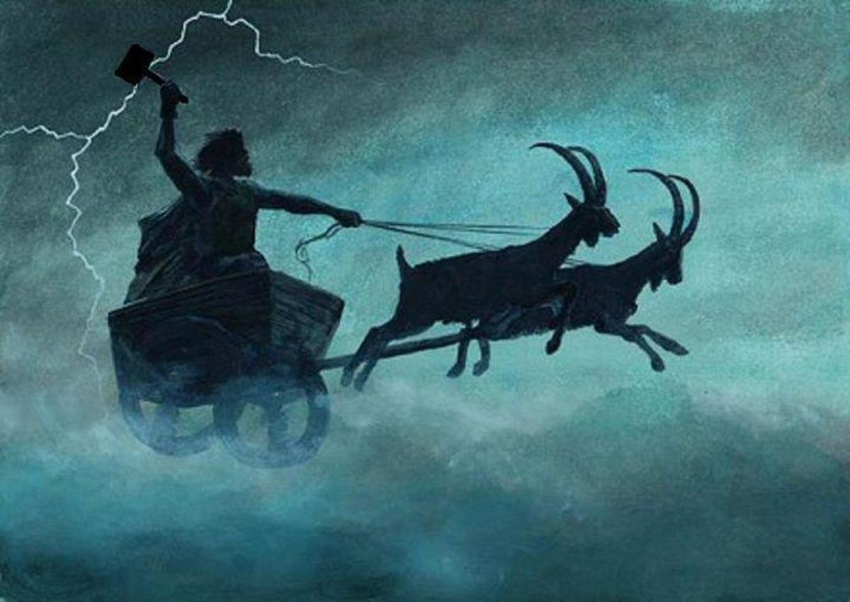 Thor rides his goat chariot - among the names he goes by is 'Charioteer'. In his left hand you can see his hammer, Mjollnir, scattering sparks of lightning