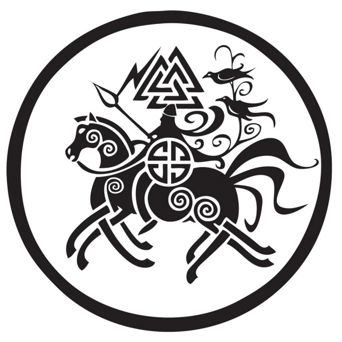 Odin rides Sleipnir, a peace offering from Loki who gave birth to the eight-legged stallion - a car sticker you'll stand out with in the car park!