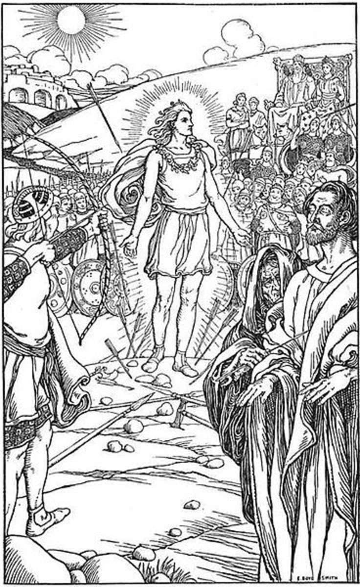 Blind Hodr aims his bow at Baldr - the mistletoe arrow brings down Odin's favourite son