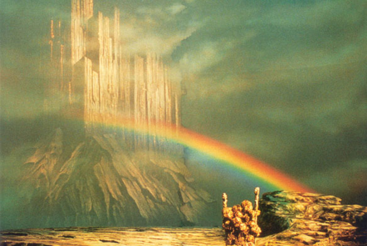 Asgard, home of the gods seen from Midgard, the world of men. Linking them is the rainbow bridge Bifroest, presided over by the all-seeing, all-hearing Heimdall - also known in another story as 'Rig' (cf)