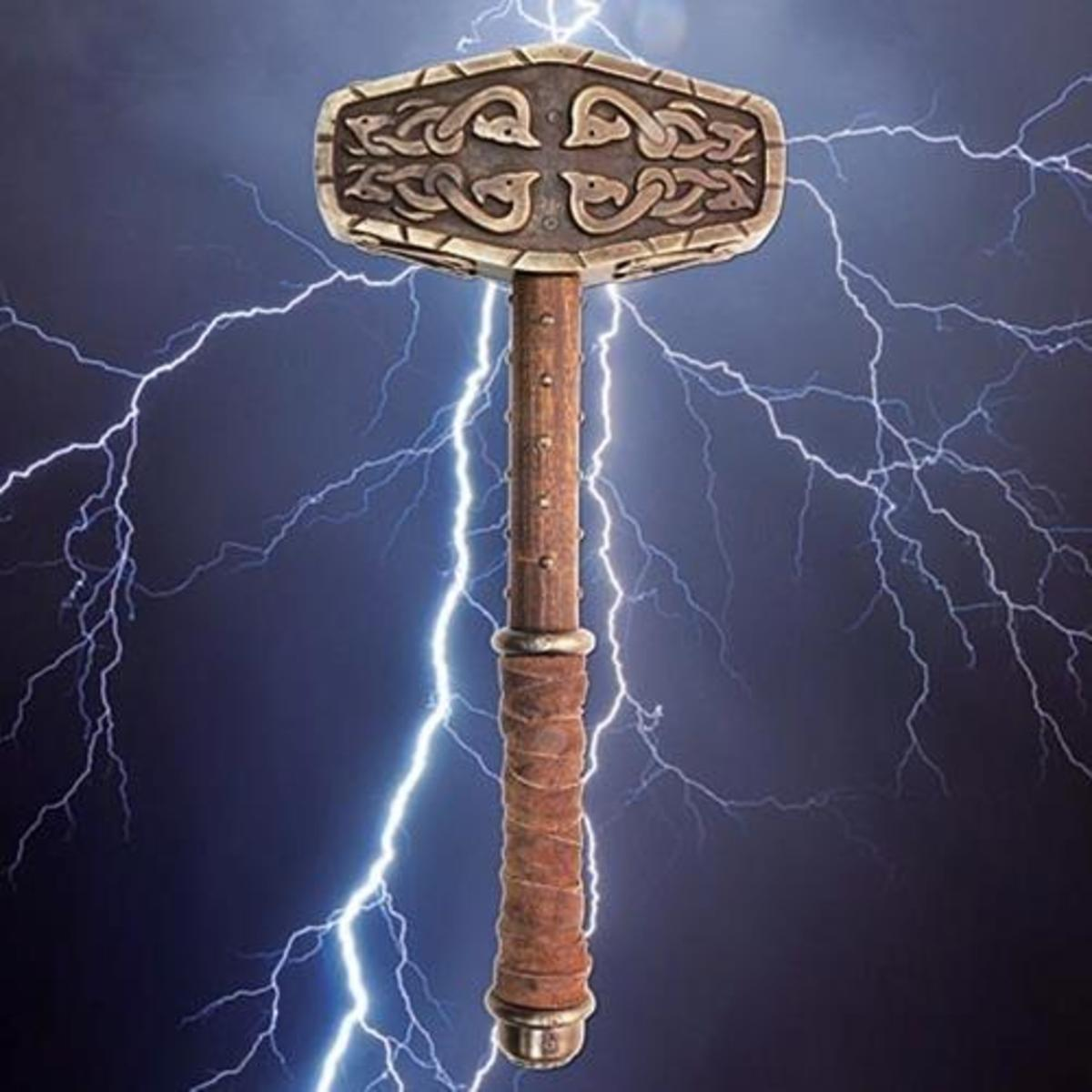 Here's a version of Mjollnir you won't see very often, as in the picture above emanating lightning. If you're a Giant be afraid, be very afraid