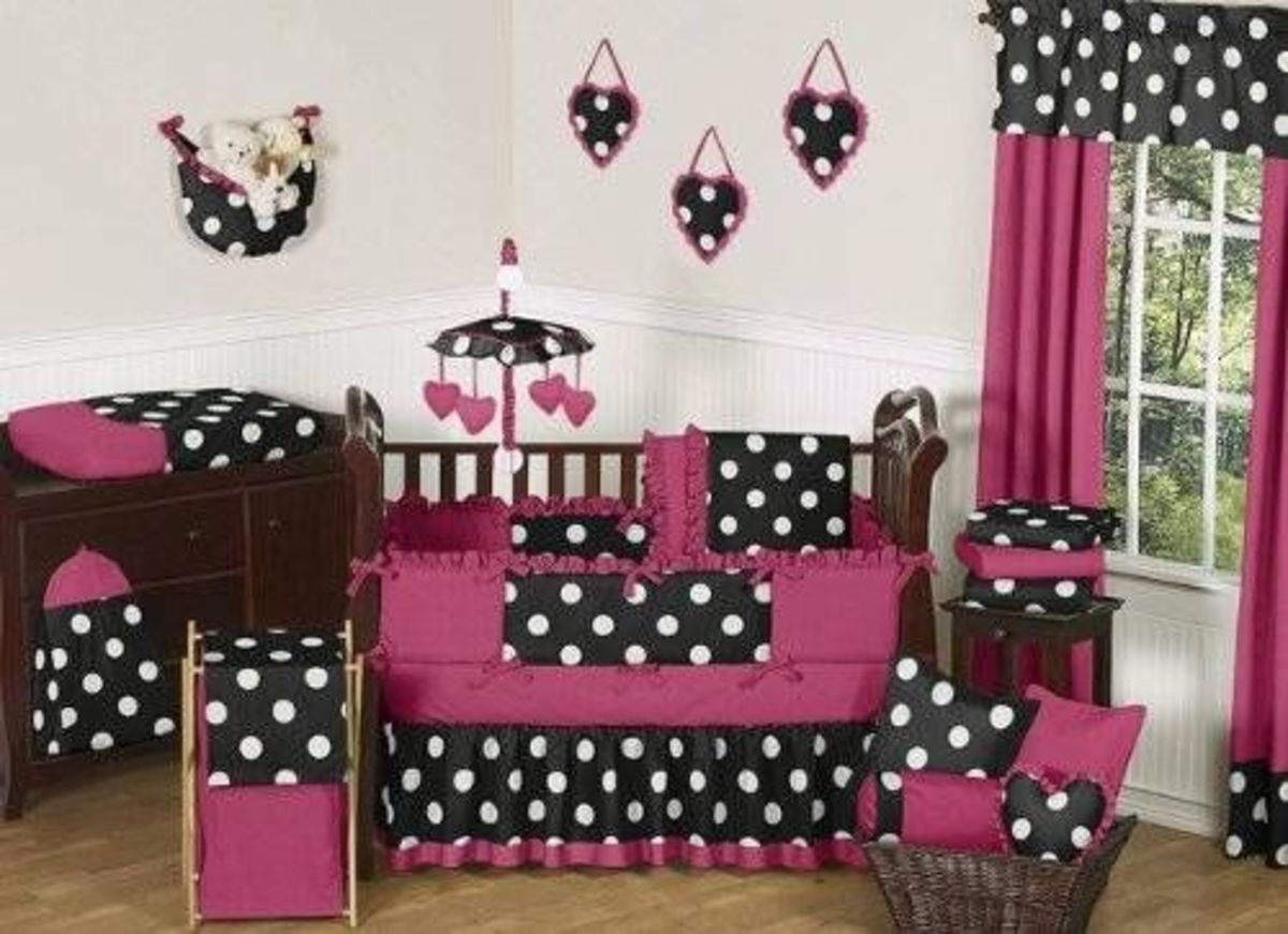 Pink, Black and White Hot Dot Baby Bedding by JoJO Designs 9 pc Crib Set