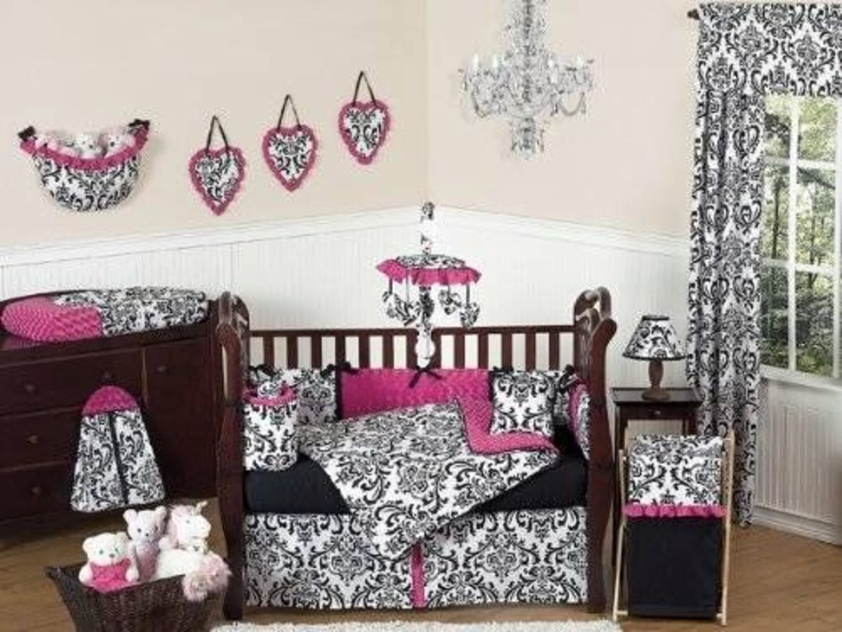 Hot Pink, Black and White Isabella Girls Baby Bedding 9 pc Crib Set