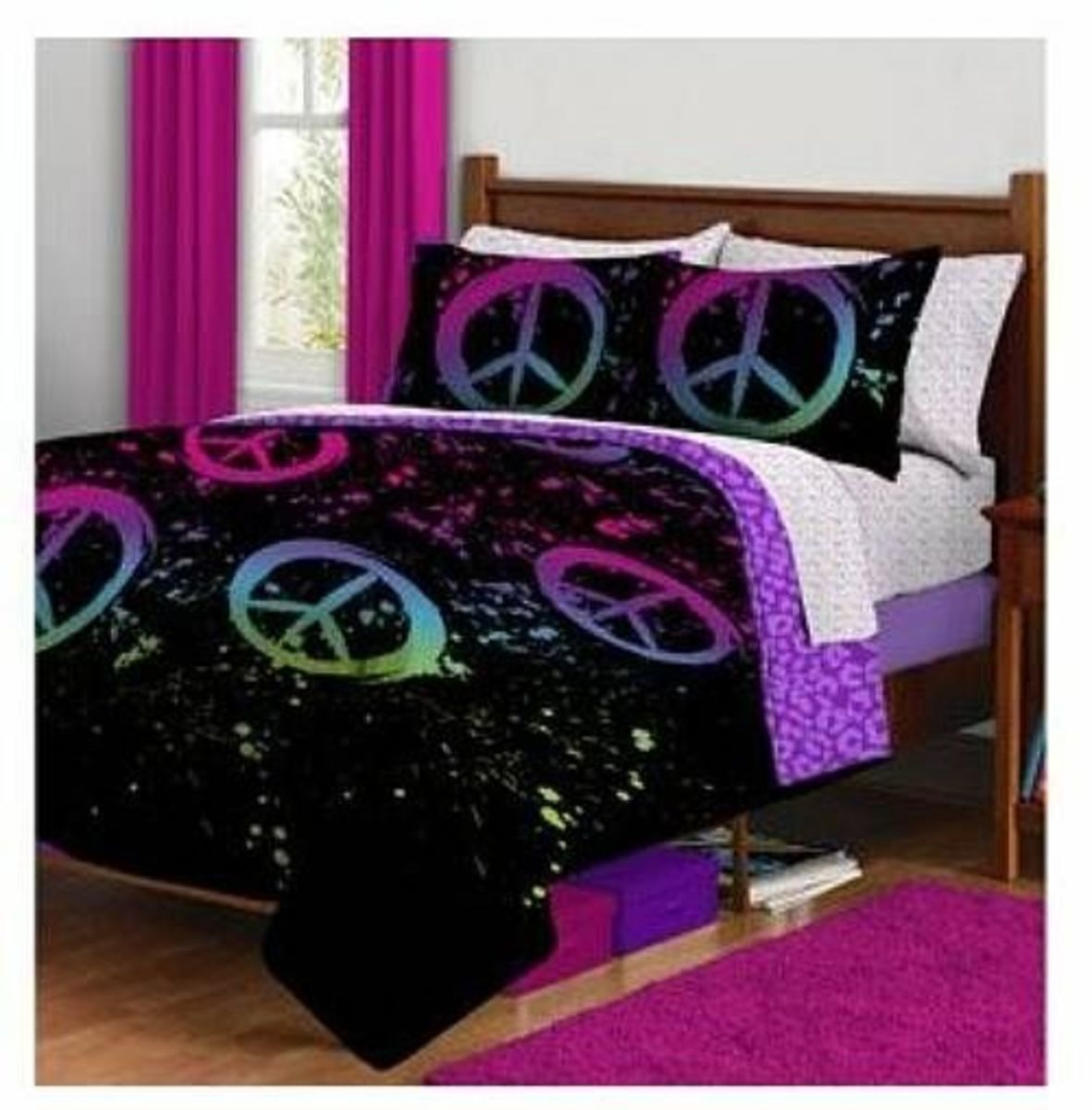 Black Purple Pink Peace Sign Twin Girls Comforter Bed in a Bag Set