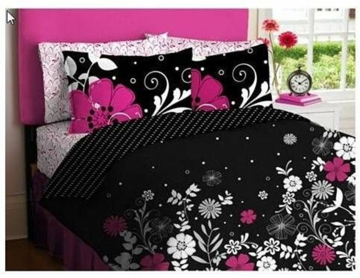 Pink And Black Teen Girls Queen Comforter Set