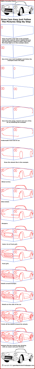 Just follow along with the diagrams by first copying the rectangle that has been drawn around the car. You can the use the dimensions of the rectangle to calculates where you draw your line on the drawing area.