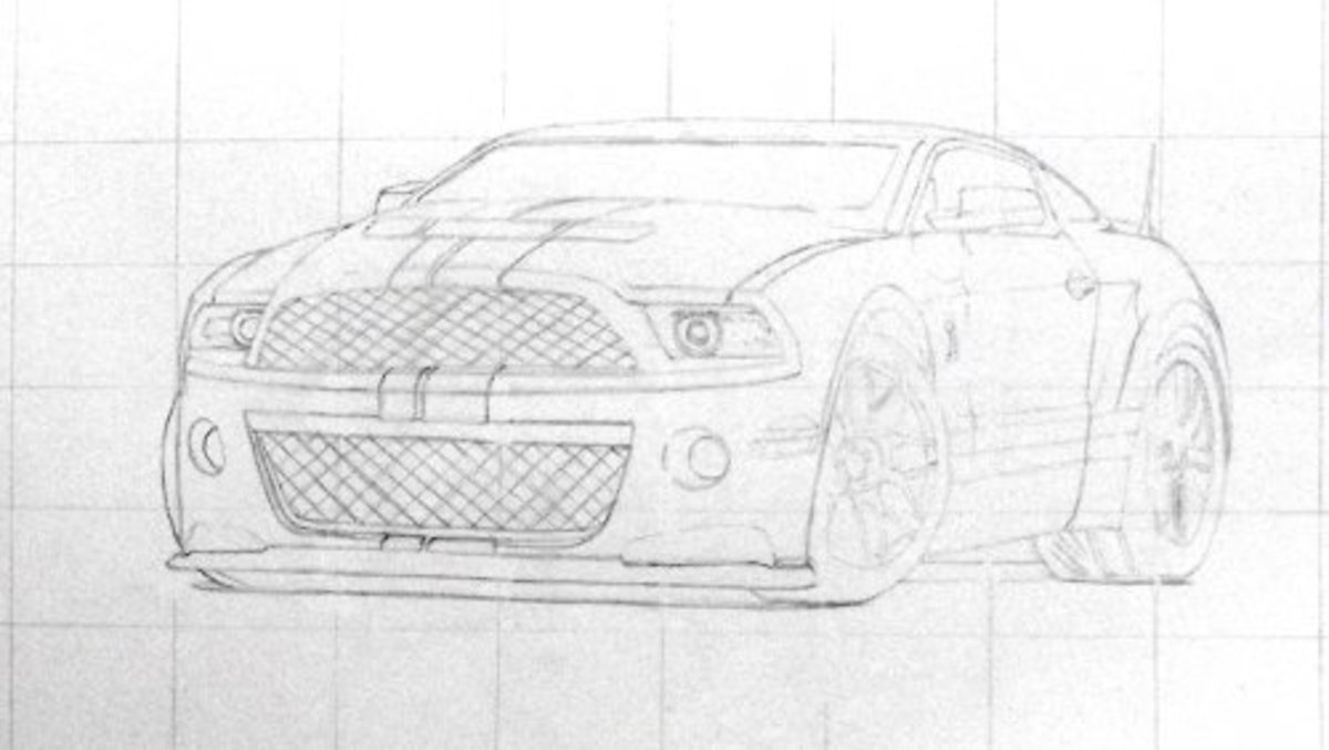 How to draw a car, Mustang Shelby, grid and outline drawing, the basic construction plan for the final GT500 image.