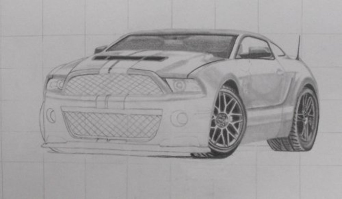How to draw a car, Mustang Shelby, rear wheel, windows, screen, bonnet.