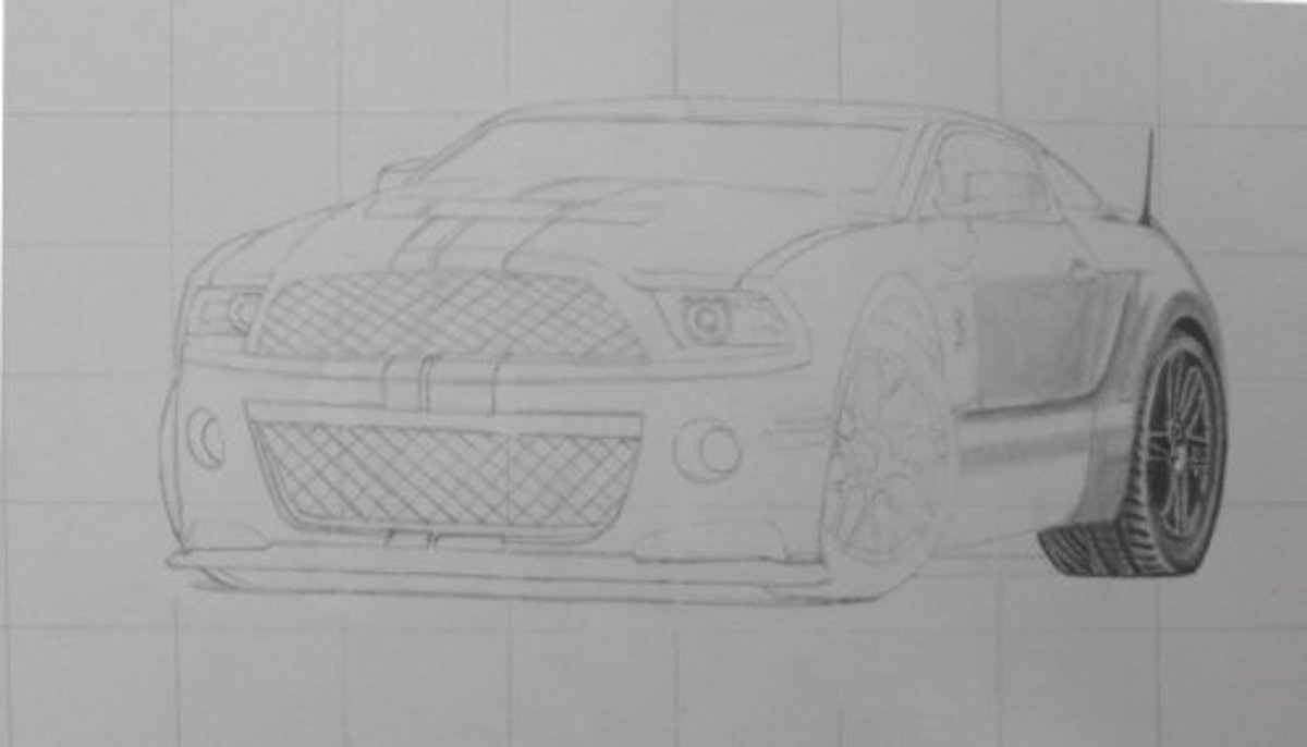 How to draw a car, Mustang Shelby, rear wheel.