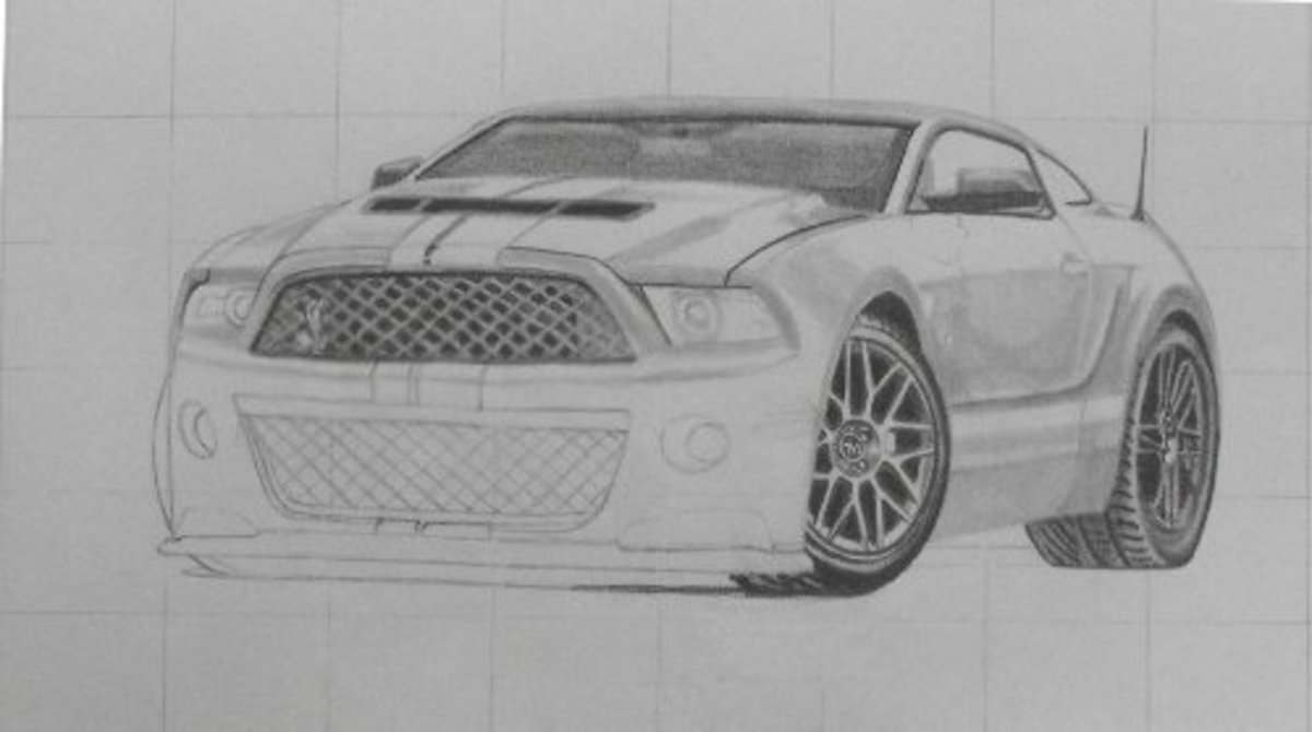How to draw a car, Mustang Shelby, nearly finished.