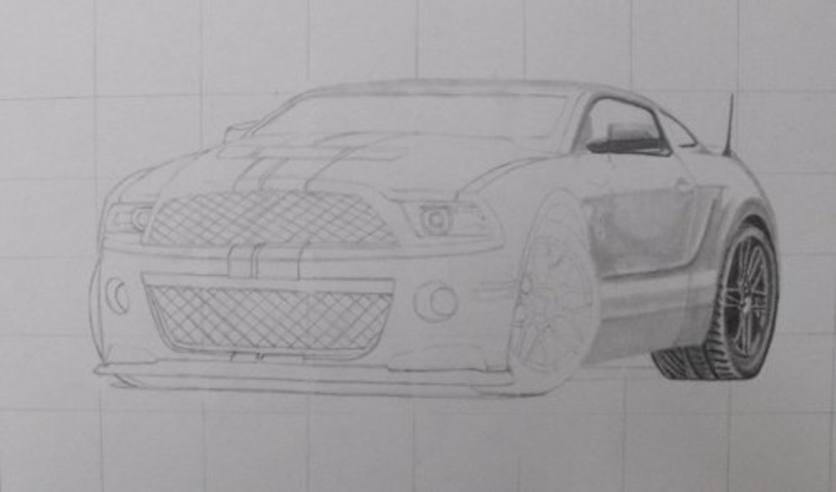How to draw a car, Mustang Shelby, rear wheel, windows