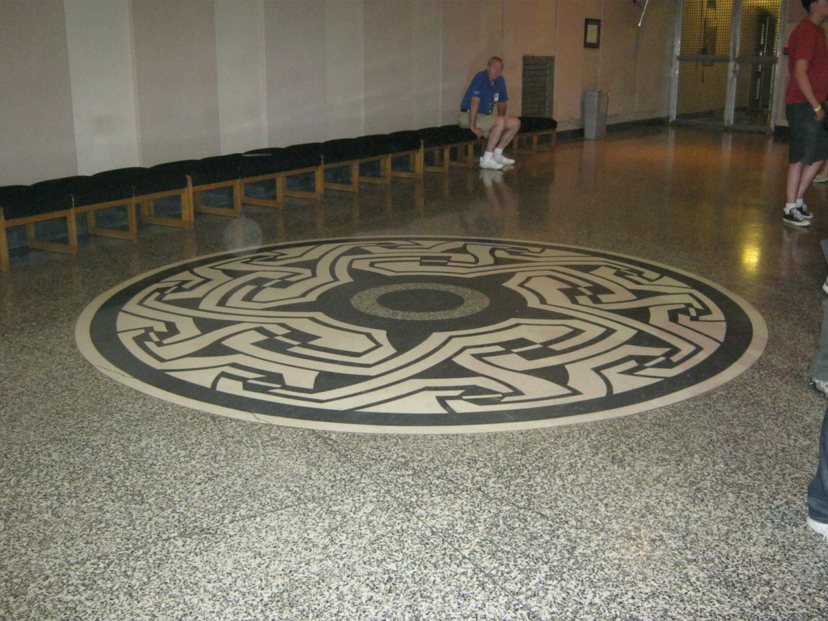 A pretty marble floor in the same area as the generators.