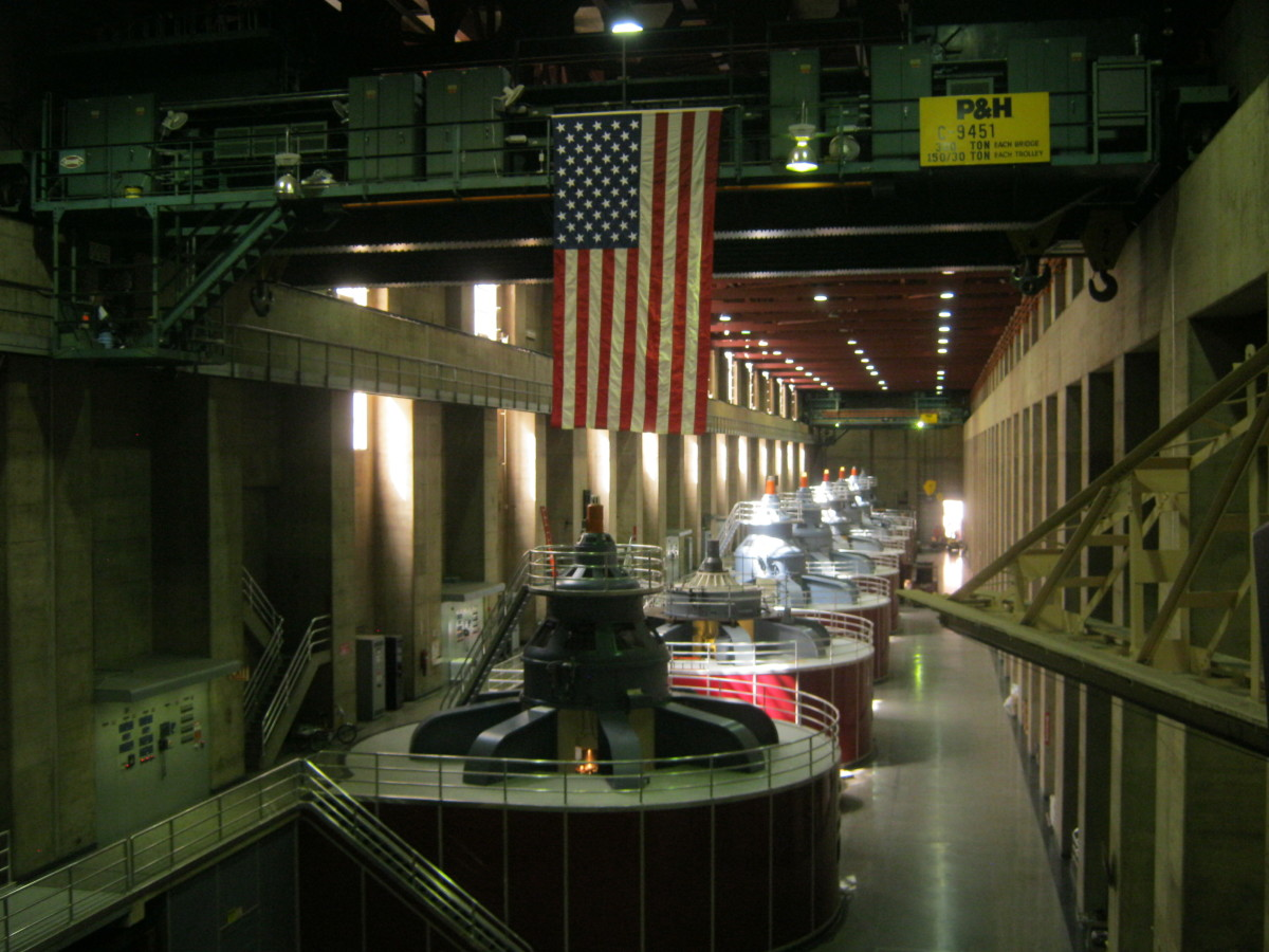 Some of the generators used to create electricity inside of Hoover Dam.