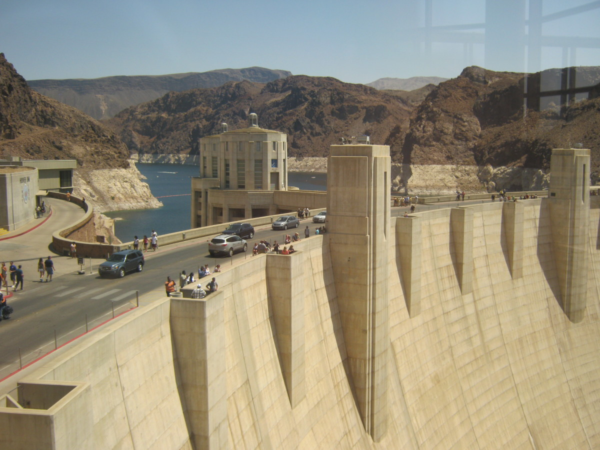 An interesting view of Hoover Dam from the visitor's center.