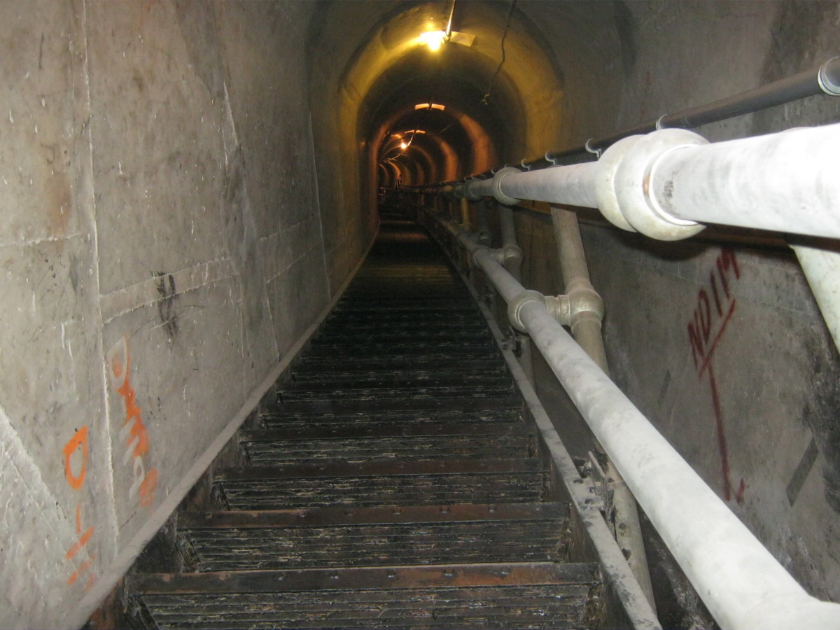 Stairs that are not OSHA approved in Hoover Dam. There is another set of stairs across the hallway that are painted yellow and are OSHA approved.