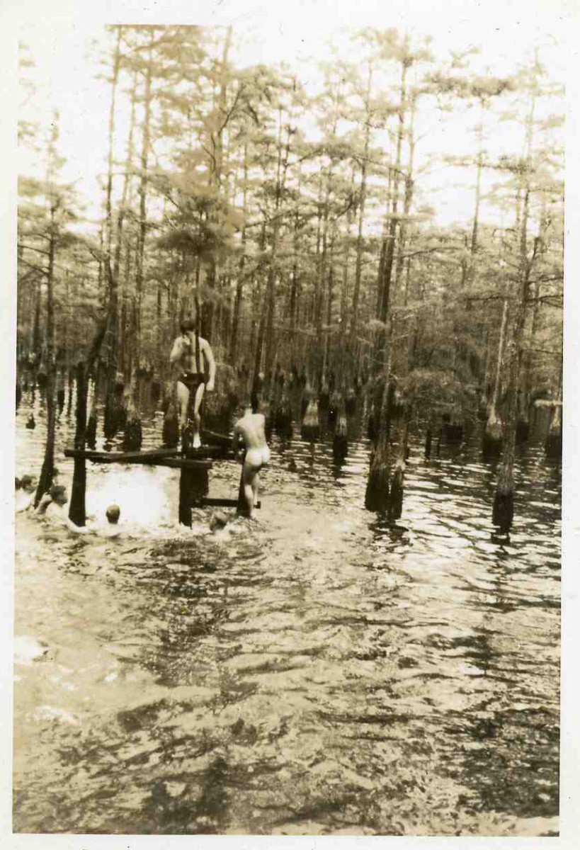 Jumping into the swamps to cool off from the summer heat.