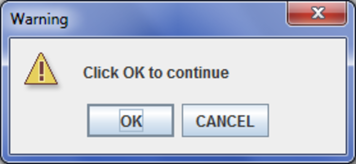 Example: WARNING_MESSAGE with OK_CANCEL_OPTION