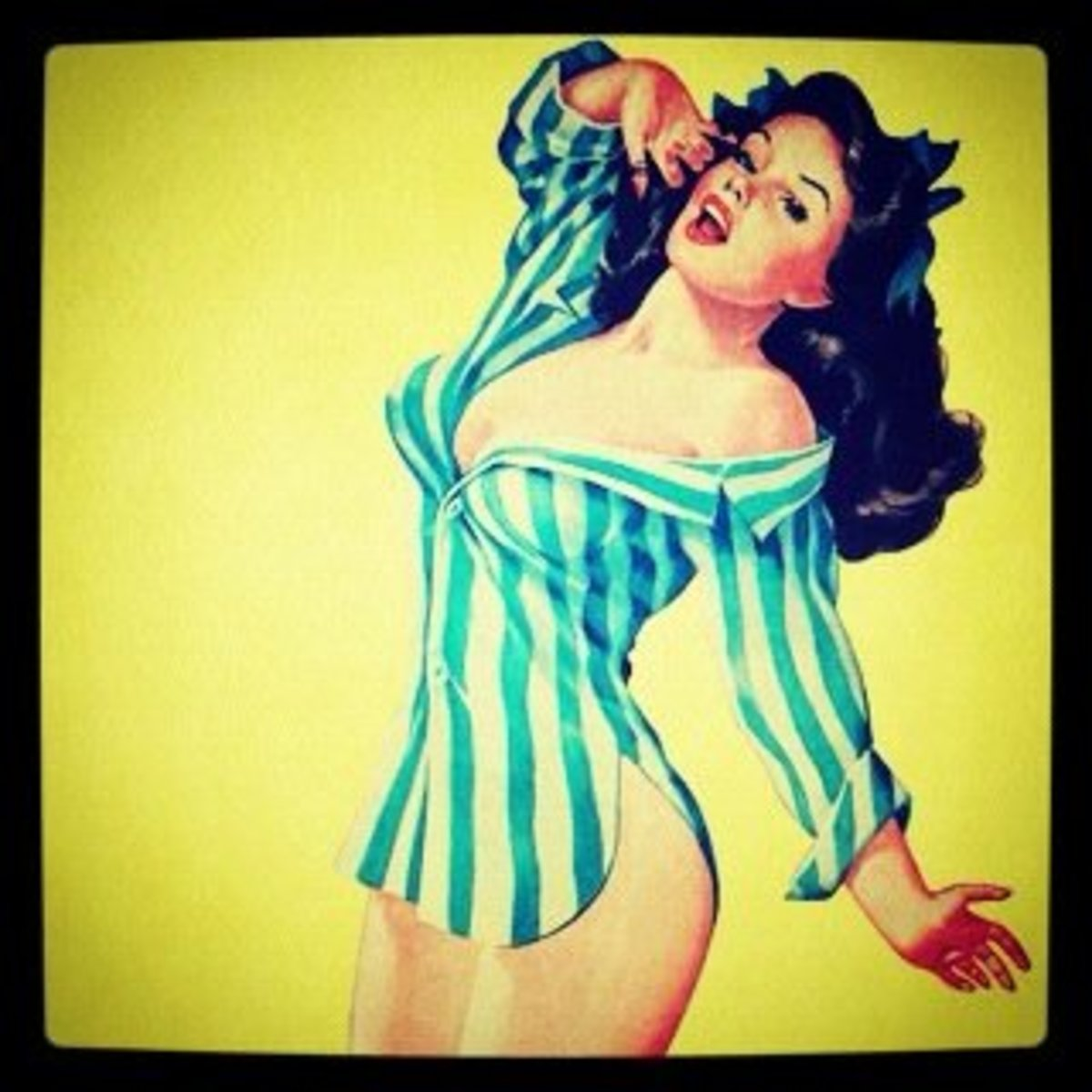 Pin-up girl preparing for bed.