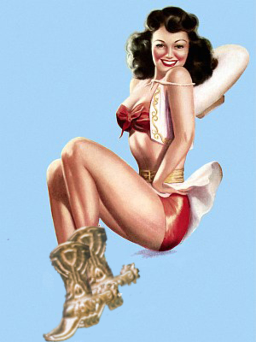 This Western style pin-up is ready for wrangling.
