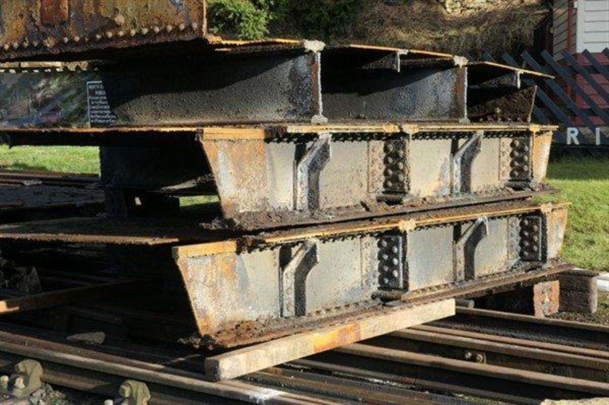 The old bridge sections cut up, ready for removal to Teesside