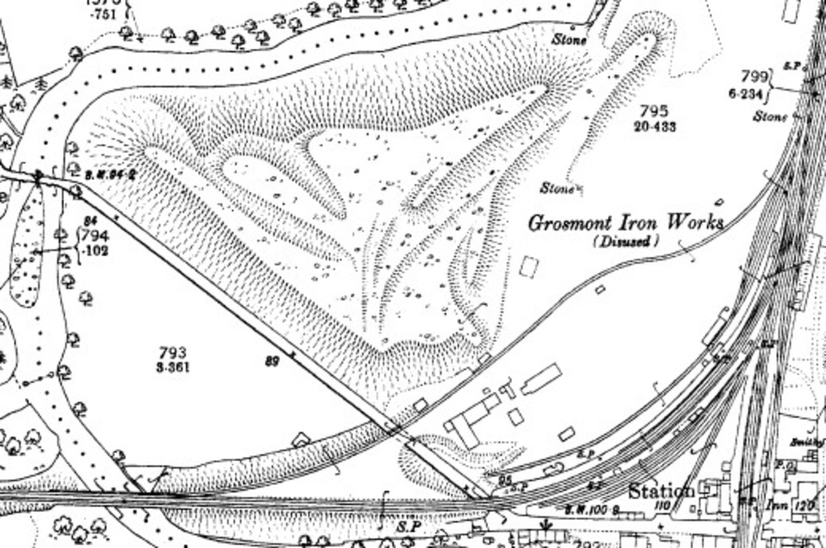 Not a lot of people know this, there was an iron works on the other side of the line from Whitby to Battersby was an iron works. Here's a section from the Ordnance Survey of the 1890s, the land now occupied by the overflow car park
