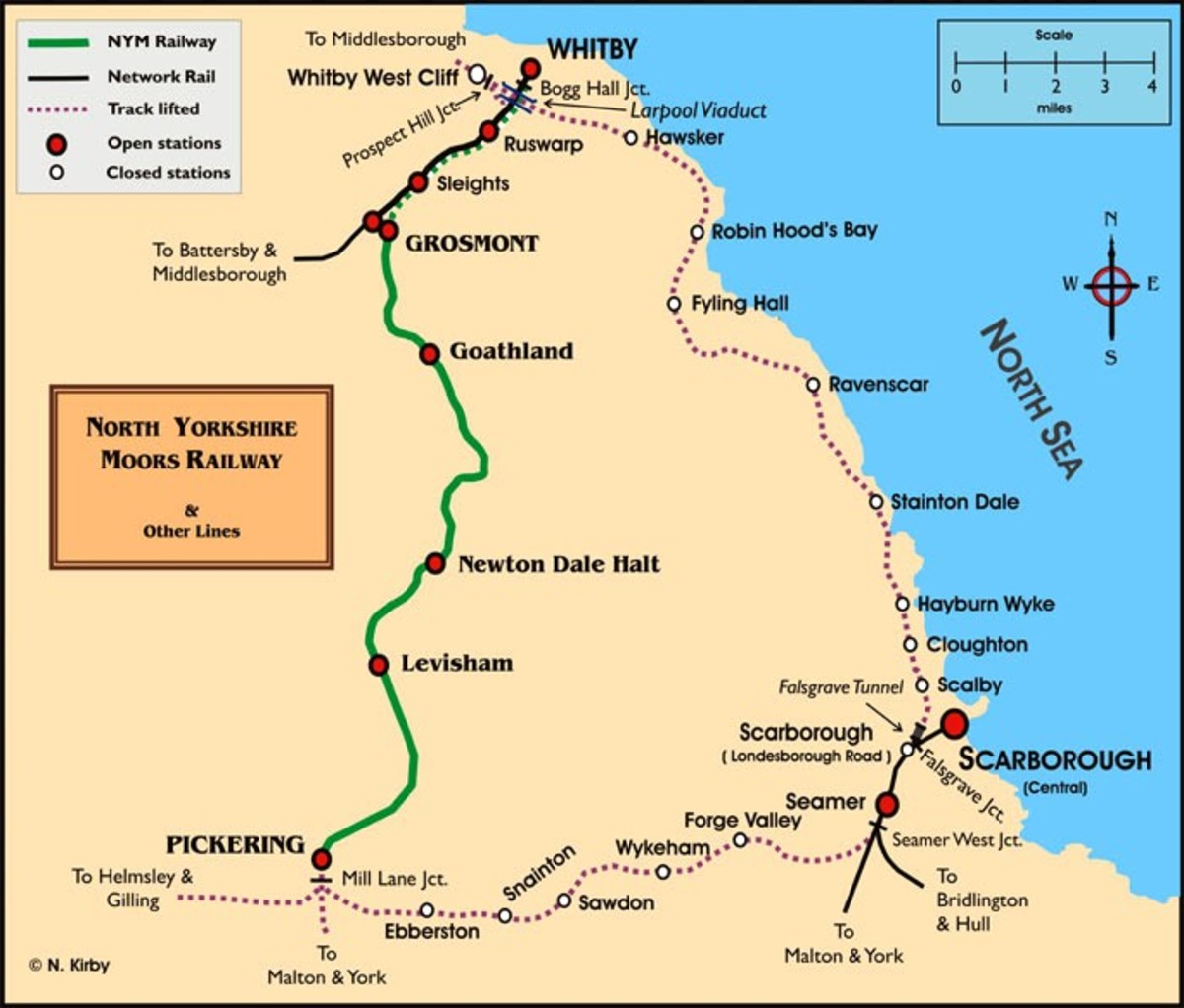 A schematic map of North Yorkshire's extant railways inland from Whitby and Scarborough