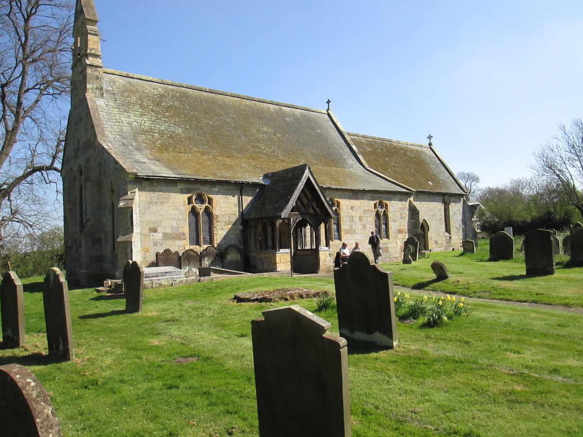 The small church of St Peter and Paul at Scrayingham  near Stamford Bridge in East Yorkshire where the Hudsons and their inlaws lie buried close to the nearside wall, left of the porch