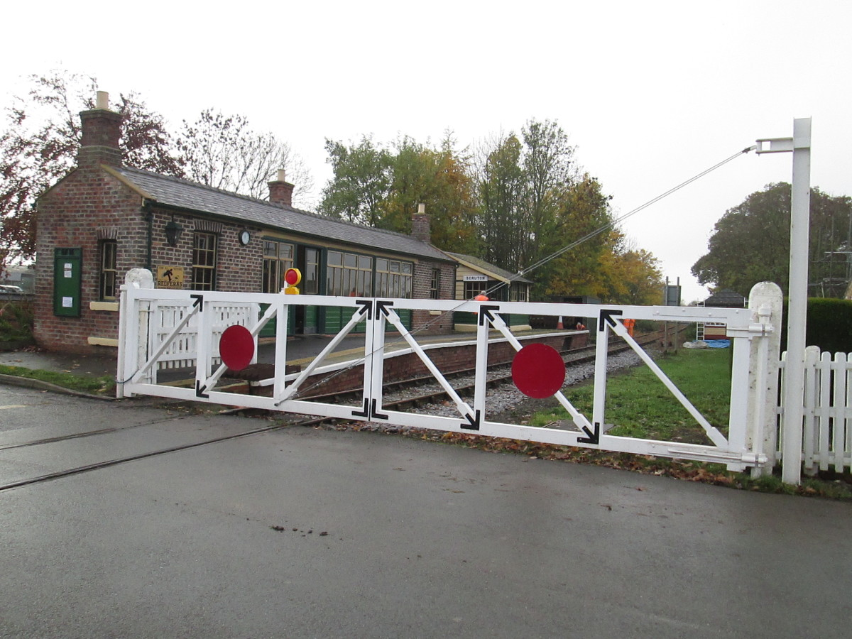 The replacement crossing gates at Scruton Station - hand-built, using hardwood