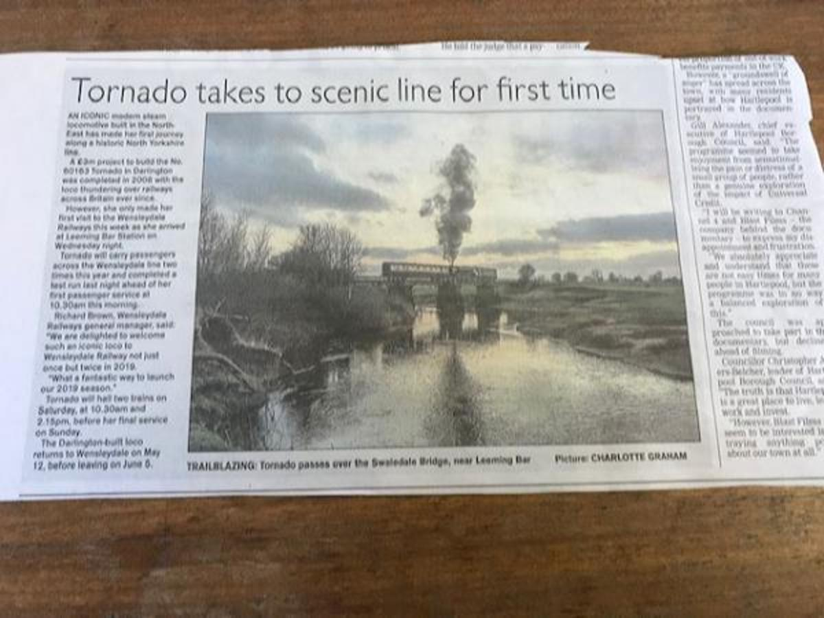 Mid-February, 2019: regional and national press covered the visit paid by 'Tornado' to the Wensleydale Railway