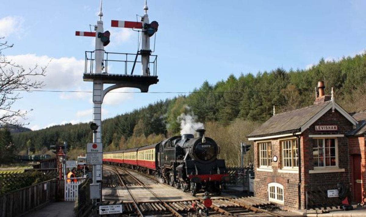 Preserved ex-LMS Fairburn 2-6-4 tank arrives at Levisham with a train for Grosmont on a bright, sunny afternoon