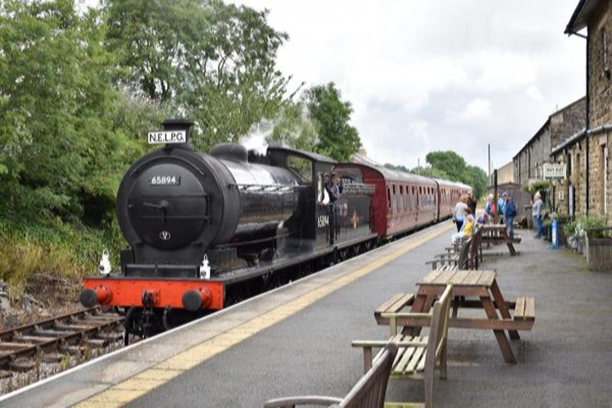 August 2019 saw her in service again between Leeming Bar and Redmire - here she awaits 'the off' bound for Redmire at Leyburn