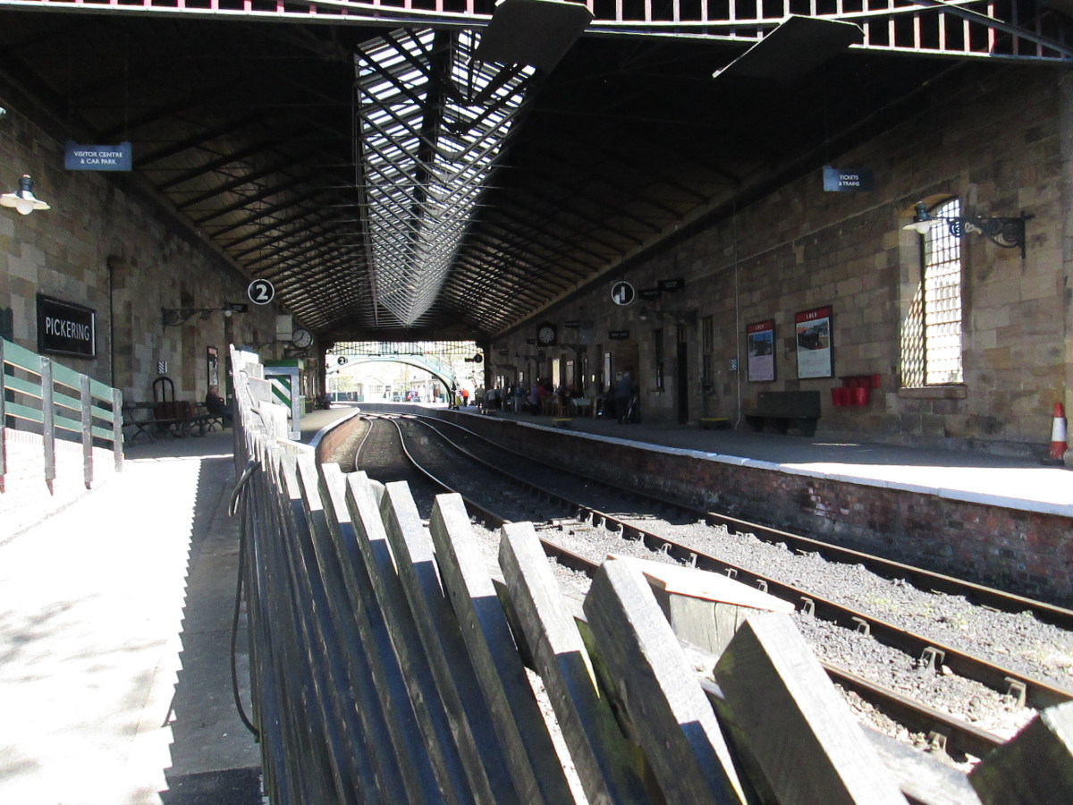 Pickering, the 'down' platform where trains came in for Grosmont and Whitby - with its overall roof, as originally designed by G T Andrews in the mid-1850s