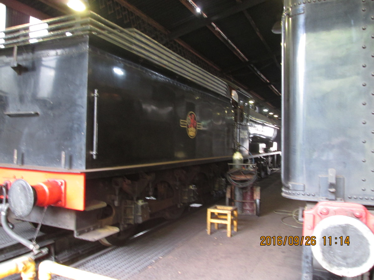 Looking around the back of the US 2-8-0 you see NELPG's Q6 63395 from the tender end