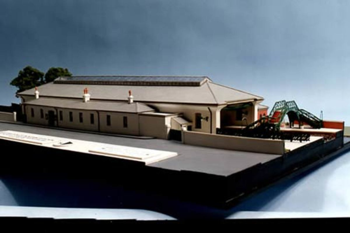 An architect's model of Pickering's station with its roof - now reinstated - see below: 'Pickering, the resurgence' Whitby Town Station had an overall roof similar to this, but wider, to accommodate a slip road between the two main platforms.