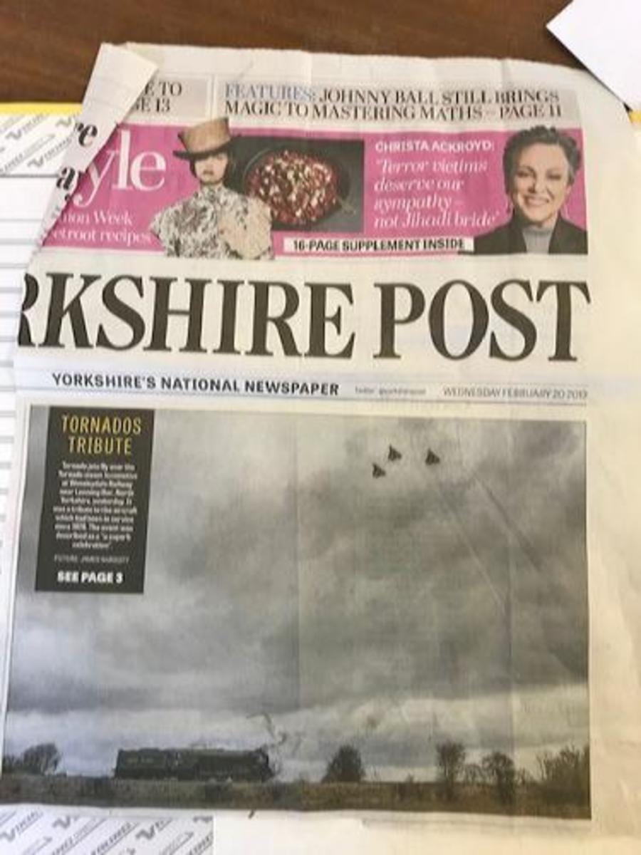 Tribute from the regional press, 'Yorkshire Post' announces a farewell to Tornado fighter bombers in North Yorkshire, and pairs them with A1 60163 'Tornado. The locomotive visited the Wenleydale Railway in mid-February, 2019 - see below for images'
