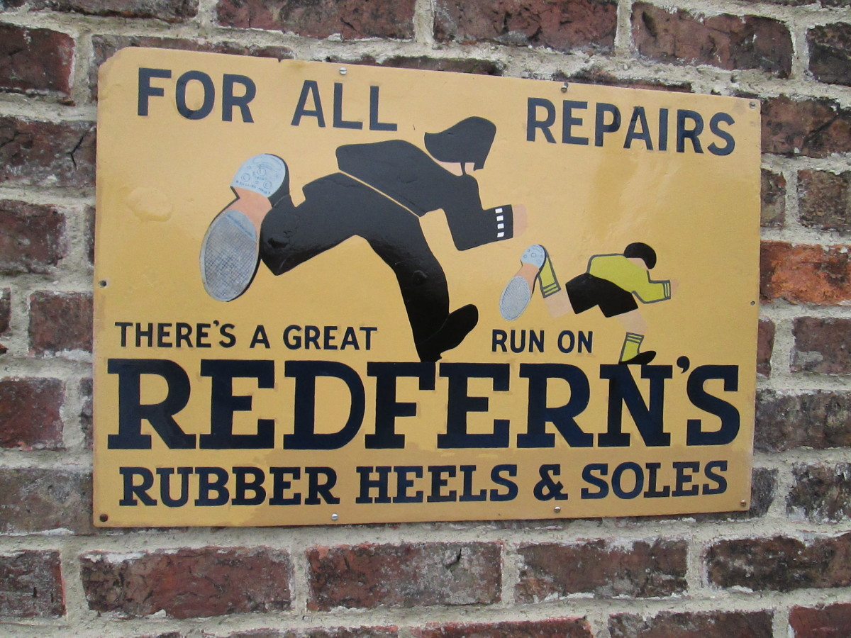 And outside, an enamelled wall advertisement for Redferns' rubber heels and soles