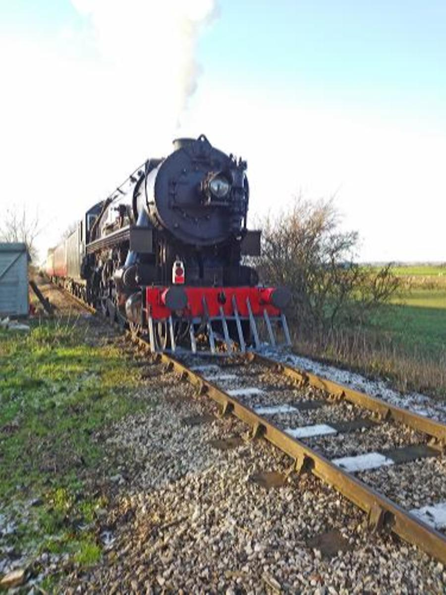 The Baldwin 2-8-0 at Crakehall with its 'Polar Express' - another couple of months and they'd have had the snow for effect!