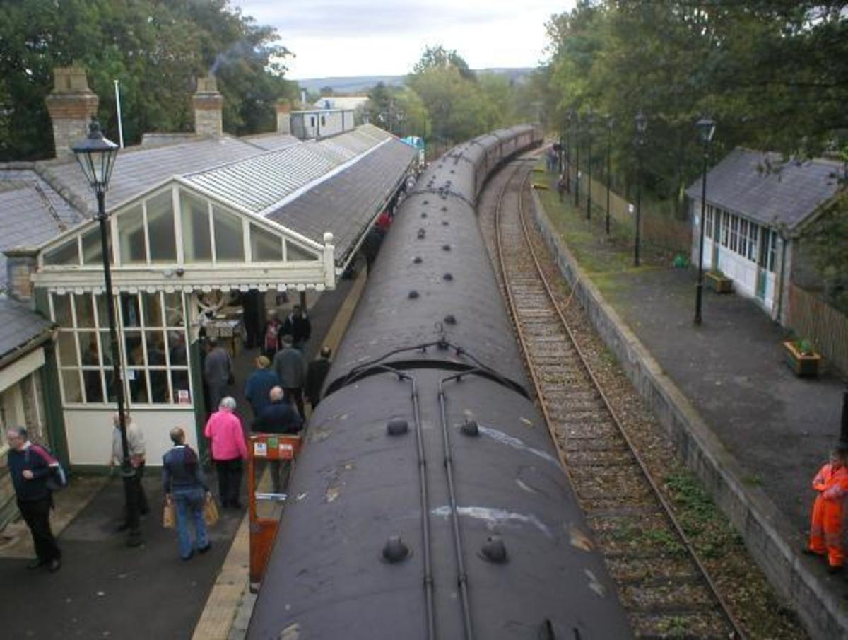 Steam at Stanhope - a crowd has turned out for a visiting locomotive in 2019