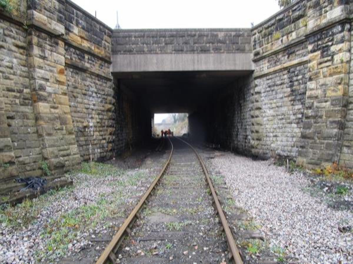 The way west - at the other side of the bridge work is underway to install pointwork at the western end of the Leyburn Station passing loop
