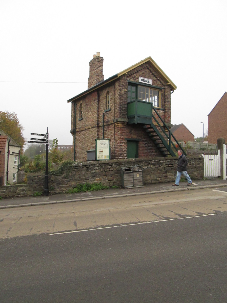 Bedale's signal cabin at the level crossing. Picture taken from station approach road