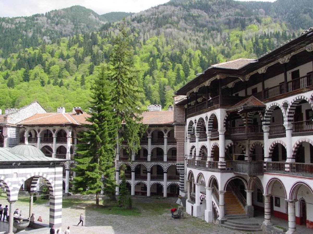 The inner yard of the Rila Monastery